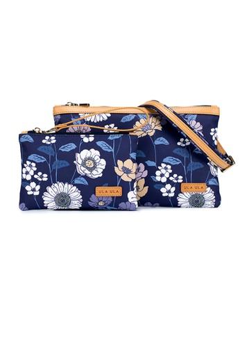 ULA ULA blue ULA ULA Blossom Night Leather Trim Multi Purpose Nylon Pouch Sling Bag set  (2 in 1) RFID Blocking FCC25ACDDB66B0GS_1