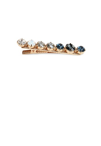 Glamorousky blue and gold Simple Fashion Plated Gold Blue Cubic Zirconia Geometric Round Hair Clip FFFE7AC1A822C2GS_1