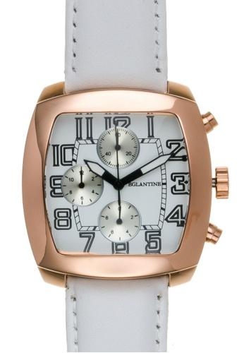 EGLANTINE gold EGLANTINE® Navigo Pink Gold Plated Steel Chrono Quartz Watch on White leather strap 97255AC21466C8GS_1