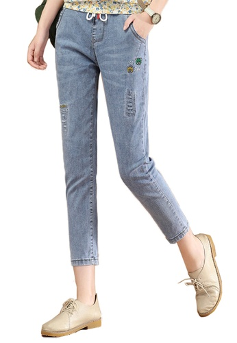 A-IN GIRLS blue Elastic Waist Frayed Jeans F2982AA957B0FDGS_1
