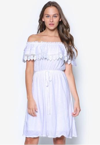 蕾絲荷esprit china葉飾露肩洋裝, 服飾, 服飾