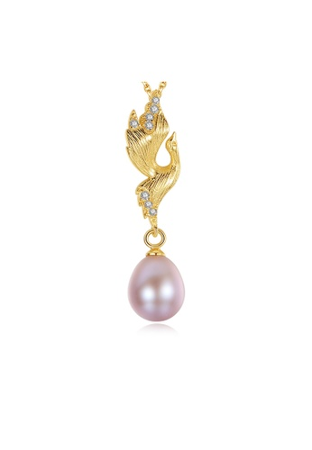 SUNRAIS gold Premium color stone golden bird necklace 628E6ACBD799F2GS_1