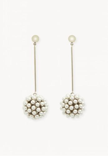 Pomelo white Premium Pearl Ball Link Drop Earrings B123BAC5DDAD65GS_1