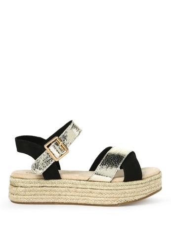 London Rag 黑色 平底帆布鞋凉鞋 DFD65SH36F676FGS_1