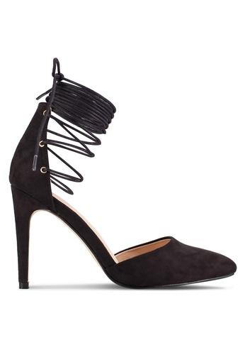 ZALORA 黑色 尖頭多帶繞踝細高跟鞋 E1100SHFEAEBA2GS_1