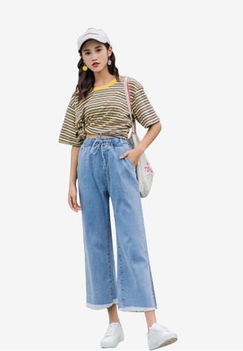 Lara blue Women Side Split Cropped Jeans 0039BAA0BDEC3BGS_1