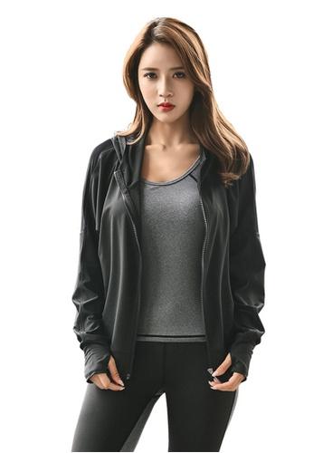B-Code black ZYG3082-Lady Quick Drying Running Fitness Yoga Sports Jacket -Black FFECBAA3092B3EGS_1