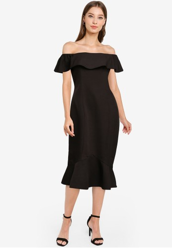 ZALORA OCCASION black Off Shoulder Mermaid Dress BD366AA1D033E0GS_1