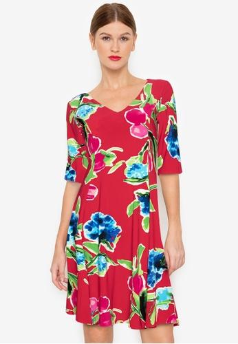 Ashley Collection multi Floral V-Neck Shift Dress 4A0D7AAEF3E2B0GS_1