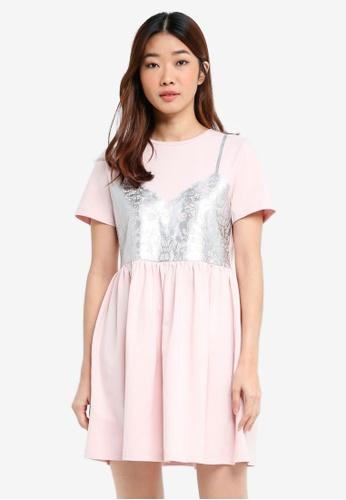 Something Borrowed pink Lace Print T-Shirt Dress 0FEFEAAAD02C5FGS_1