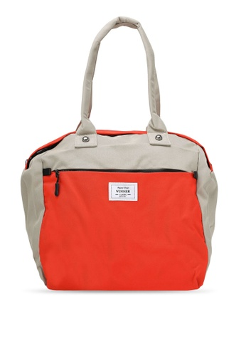 Bagstationz red and brown Colour Block Travel Bag BA607AC0RL0SMY_1
