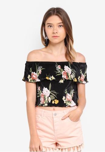 Miss Selfridge black C: Floral Print Plisse Bardot Top 849DDAA041F0A2GS_1