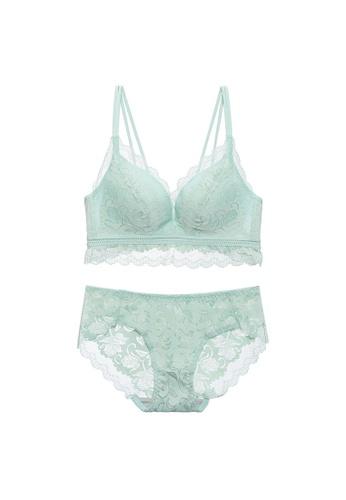 Midnight 綠色 Premium Lace Green Lingerie Set (Bra and Underwear) 13291USD145A01GS_1