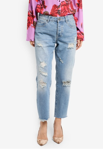 LOST INK blue Distressed Straight Jeans LO238AA0T1QSMY_1