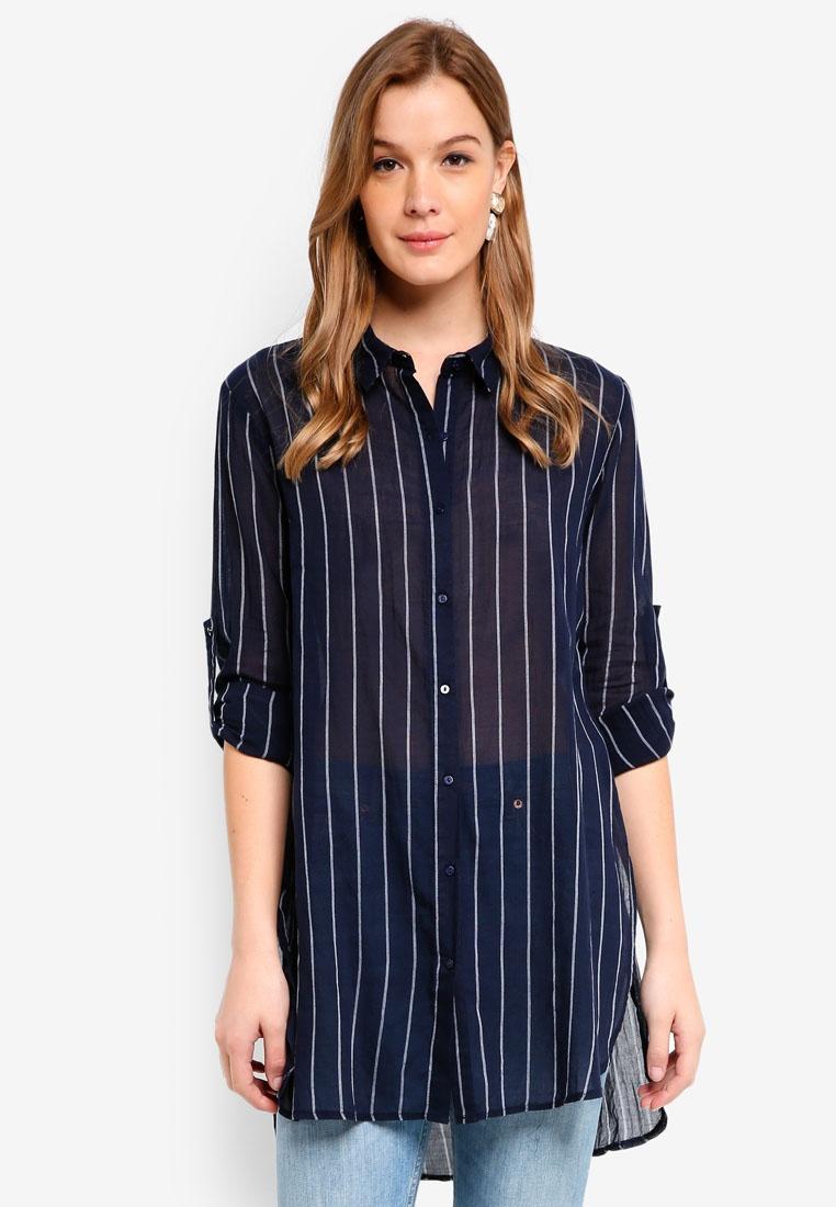 Cotton Fashion On Stripe Moonlight Shirt Longline V E44Twqdrn
