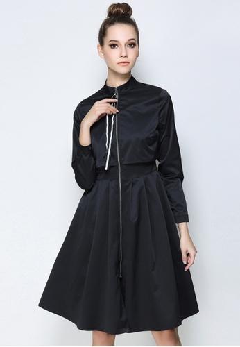 NBRAND black Long Sleeve Zipper High-Waisted Jacket NB356AA0GE8SSG_1