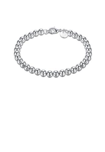 Glamorousky silver Fashion Simple Geometric 6mm Ball Bead Bracelet B053EACED7E7FFGS_1