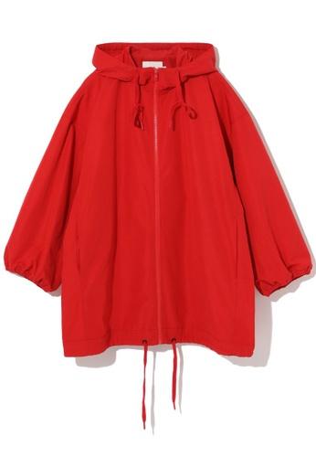 b+ab red Drawstring hem jacket C5571AAD1C90B4GS_1