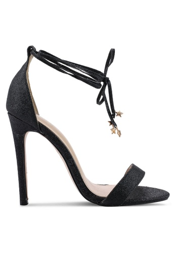Public Desire 黑色 綁帶高跟鞋 D2D8CSHC661F5BGS_1