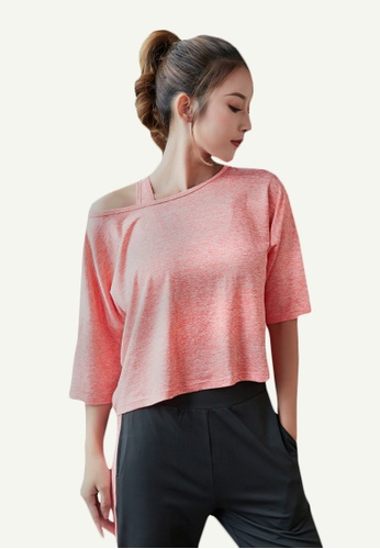 B-Code pink ZYG5125-Lady Quick Drying Running Fitness Yoga Sports Casual Top-Pink 93F13AA63ECD3FGS_1