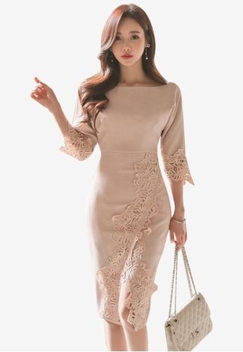 Sunnydaysweety pink Split Skirt One Piece Dress F0781AA1AEB417GS_1