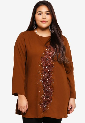 BYN brown Plus Size Muslimah Blouse FB56FAA9B892D5GS_1