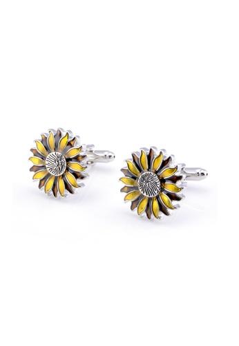 Kings Collection yellow Sun Flower Cufflinks 4A0ECAC35C01D8GS_1