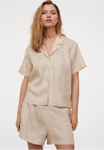 H&M beige Linen Resort Shirt 567D7AAE1B8ED8GS_1