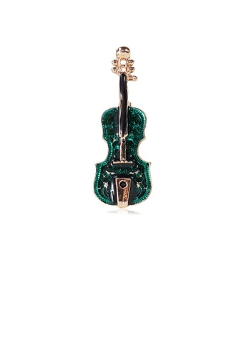 Glamorousky silver Fashion Simple Plated Gold Green Violin Brooch D9031ACC91556EGS_1