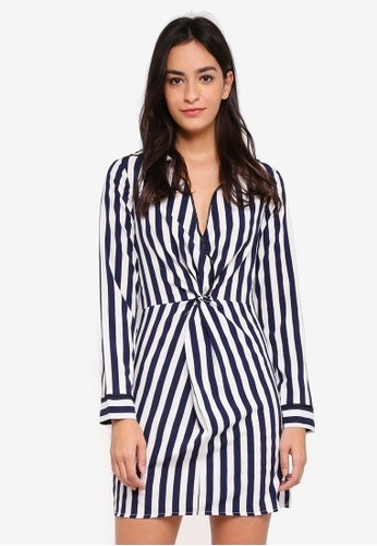 MISSGUIDED navy Stripe Piping Detail Twist Shift Dress AA6A3AAA9CE07DGS_1