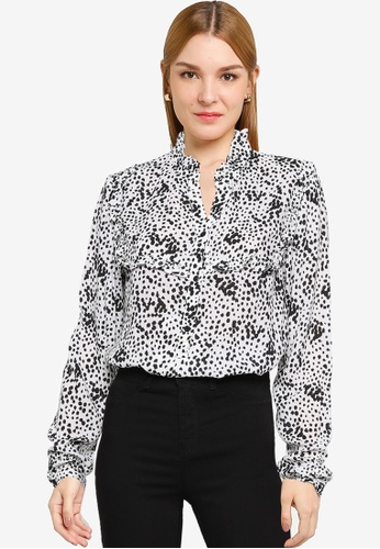 LC Waikiki white Frill Detailed Patterned Viscose Blouse D9BF8AA9A105A0GS_1
