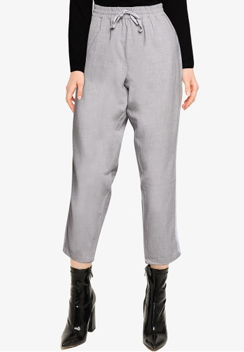 LC Waikiki grey Stripe Ankle Length Carrot Fit Trousers FA068AA2BF14B9GS_1