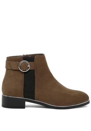 London Rag 褐色 扣带金边短靴 SH1759 1F72ESH218D921GS_1
