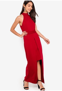 81d94a4bd8a 45% OFF ZALORA EVENING Halter Neck Split Detail Maxi Dress S$ 44.90 NOW S$  24.90 Sizes XS S M L XL