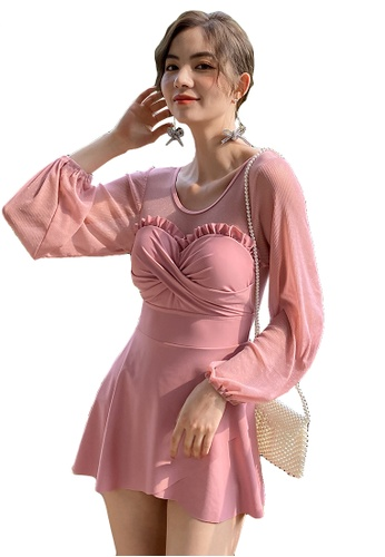 A-IN GIRLS pink Elegant Gauze Large Open Back One-Piece Swimsuit 4B68CUSE48AEA2GS_1
