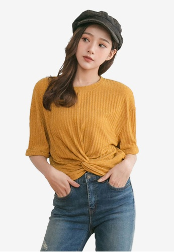 Tokichoi yellow Knotted Tie-Front Crop Top F421FAAE8017F5GS_1