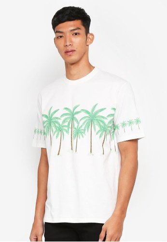 Topman white Ecru Palm Trees Oversized T-Shirt E02CDAA64D6E46GS_1
