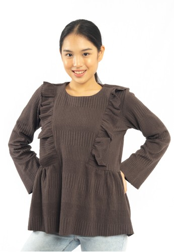 Heart and Feel brown Heart and feel Ruffle Blouse Brown A1A3BAA2B246ABGS_1