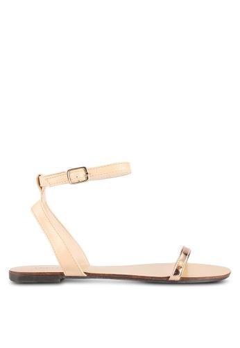 Velvet gold Skinny Strap Ankle Sandals 02EA8SH27B8DB2GS_1