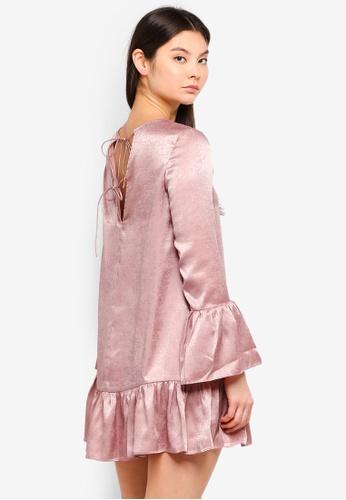 Something Borrowed pink Fluted Hem Mini Dress 5A09AAA87DC6EFGS_1