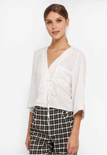 TOPSHOP white Petite Tara Tie Shirt TO412AA0SIVGMY_1