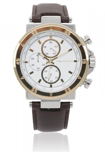 London Rag brown Men's Casual Analogue Watch With PU Leather Strap 2168AAC6105211GS_1
