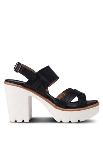 Carlton London 黑色 交叉繞帶厚底高跟鞋 951FESH4CCB5F8GS_1
