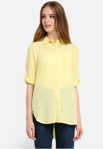 Dorothy Perkins yellow Lemon Longline Rollsleeve Shirt DO816AA0REVPMY_1