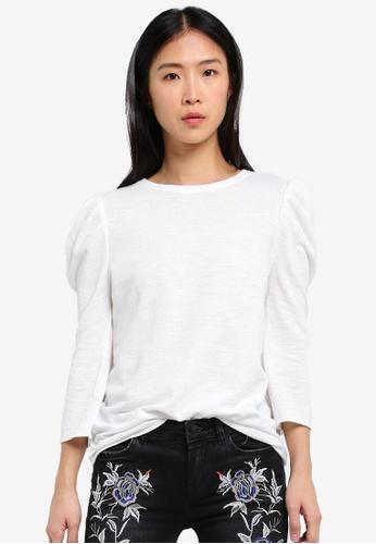 Mango white Puffed Sleeves T-Shirt MA193AA0RVZ6MY_1