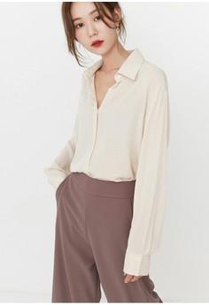 【ZALORA】 韩国时装 象牙人造絲長袖襯衫 G70180