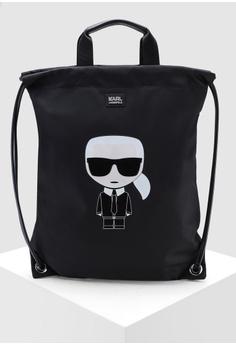 dae7a8b1cae0 KARL LAGERFELD black Ikonik Nylon Flat Backpack 94965AC1804450GS 1