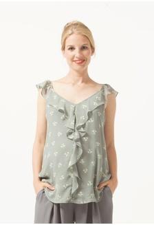 7b821a88e1d992 Sl Ruffles Yvette Nursing Top Grey Floral 36F4DAA1860239GS 1 Bove by Spring  Maternity Sl ...