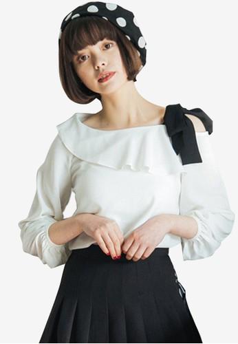 Shopsfashion white Split Shoulder Tie Up Blouse 68E9EAAB0A704FGS_1