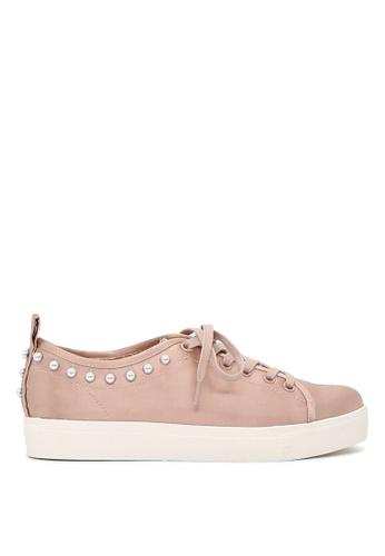 London Rag 粉紅色 LONDON RAG 女式粉色金属珍珠系带运动鞋 SH1587 EAE71SH10DF8DAGS_1